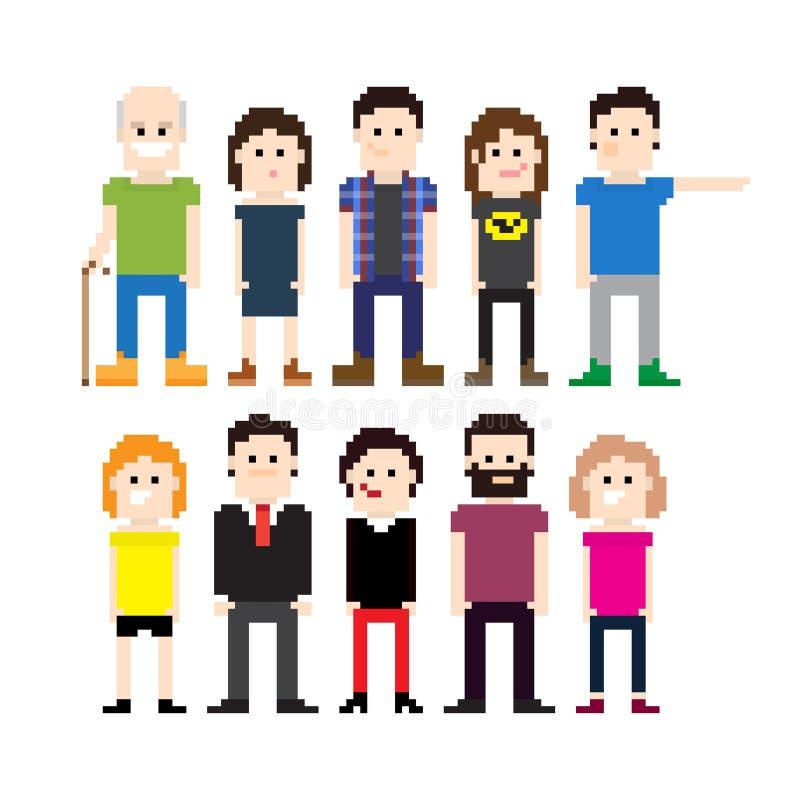 Personnes de pixel illustration de vecteur