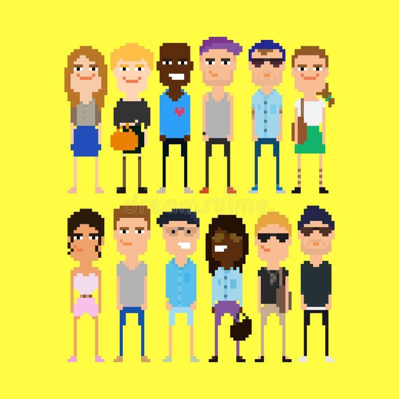 Personnes de pixel illustration libre de droits