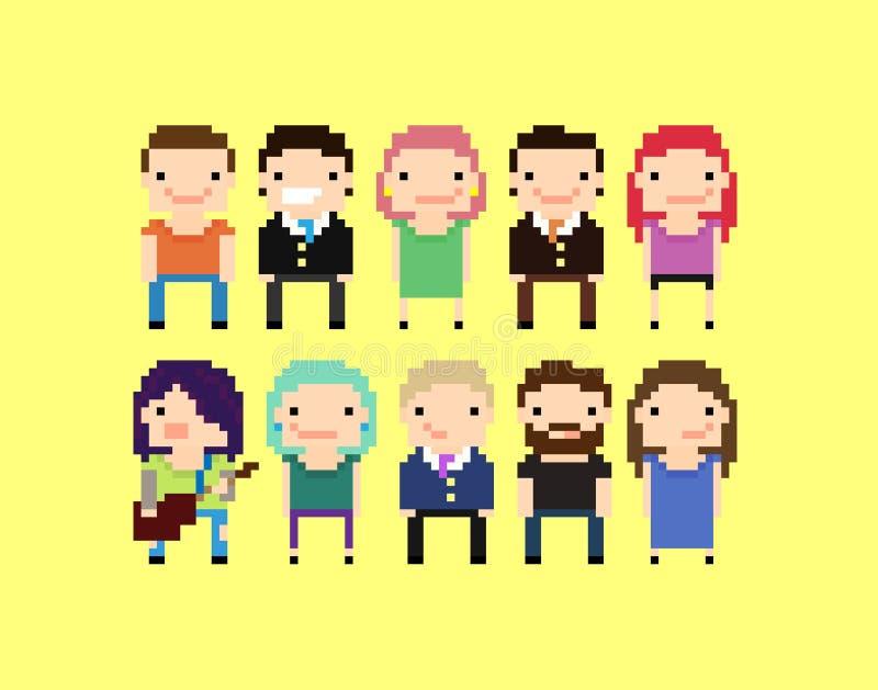 Personnes de pixel illustration stock