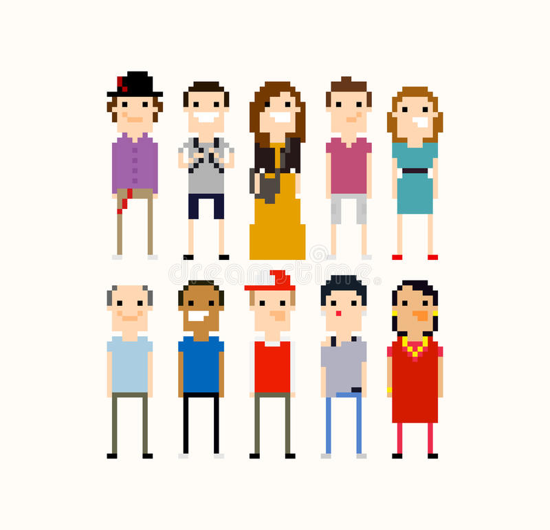 Personnes de pixel illustration de vecteur