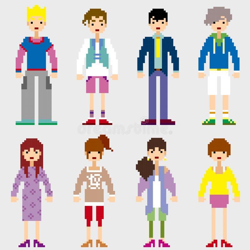 Personnes de pixel de mode illustration de vecteur