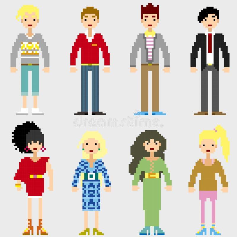 Personnes de pixel de mode illustration stock