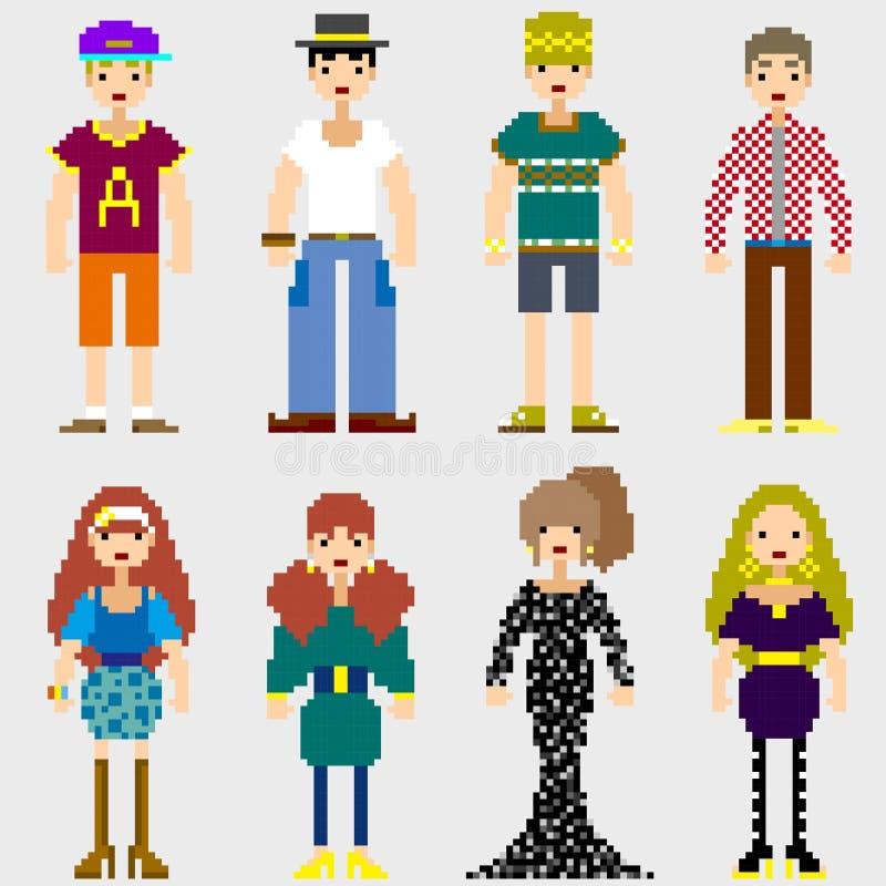 Personnes de pixel de mode illustration libre de droits