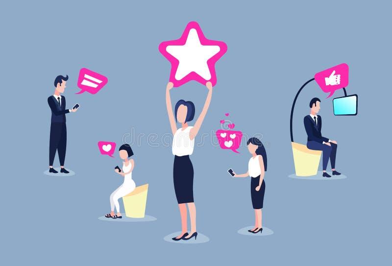 Personnes de récompense d'étoile de participation de femme employant horizontal plat de médias de smartphone de réseau d'abonnés  illustration de vecteur