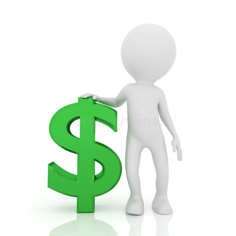 Personnes de race blanche avec le symbole dollar Concept d'homme d'affaires sur le fond blanc rendu 3d illustration stock