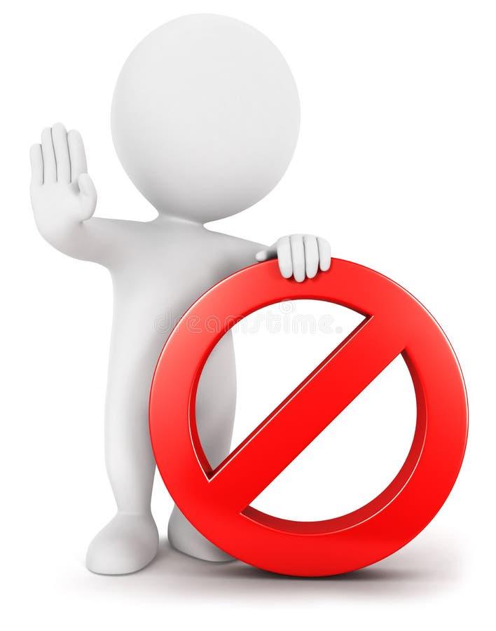 personnes de race blanche 3d avec le signe interdit illustration stock