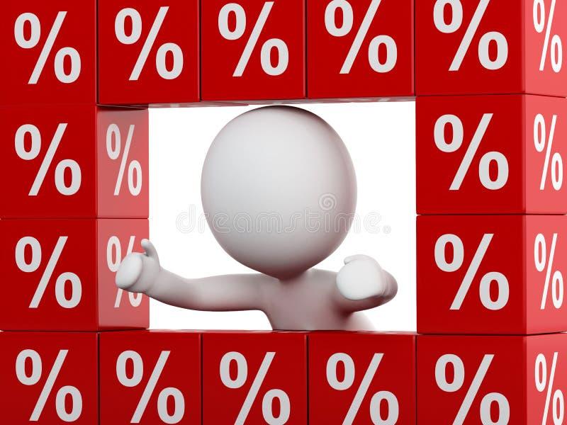 personnes de race blanche 3d avec les cubes rouges en remise illustration stock