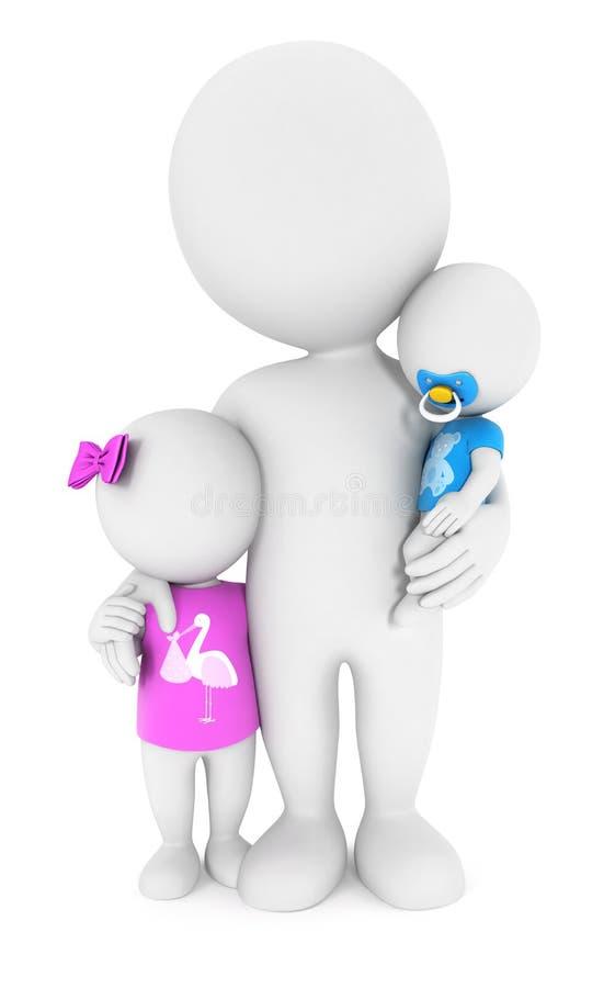 personnes de race blanche 3d avec ses enfants illustration stock