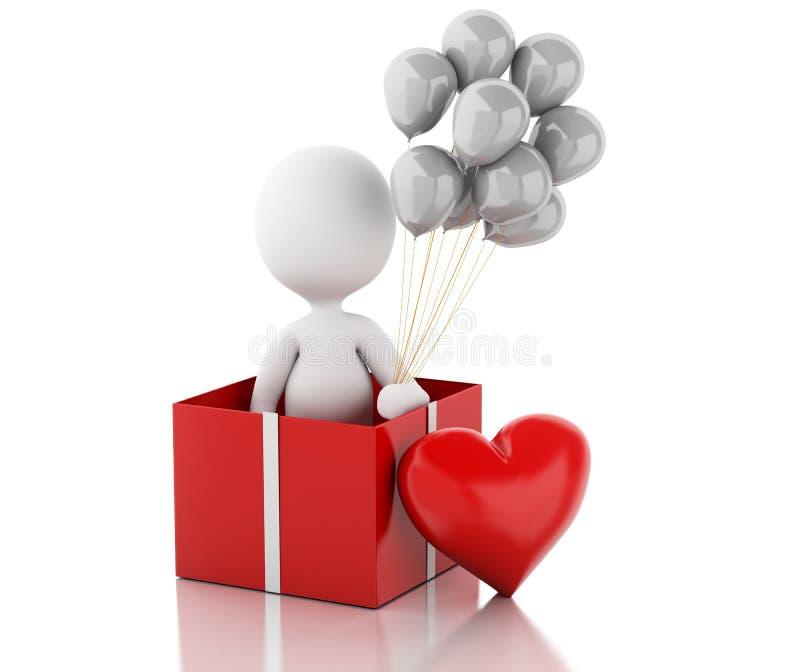 personnes de race blanche 3d dans l'amour avec le coeur rouge illustration de vecteur