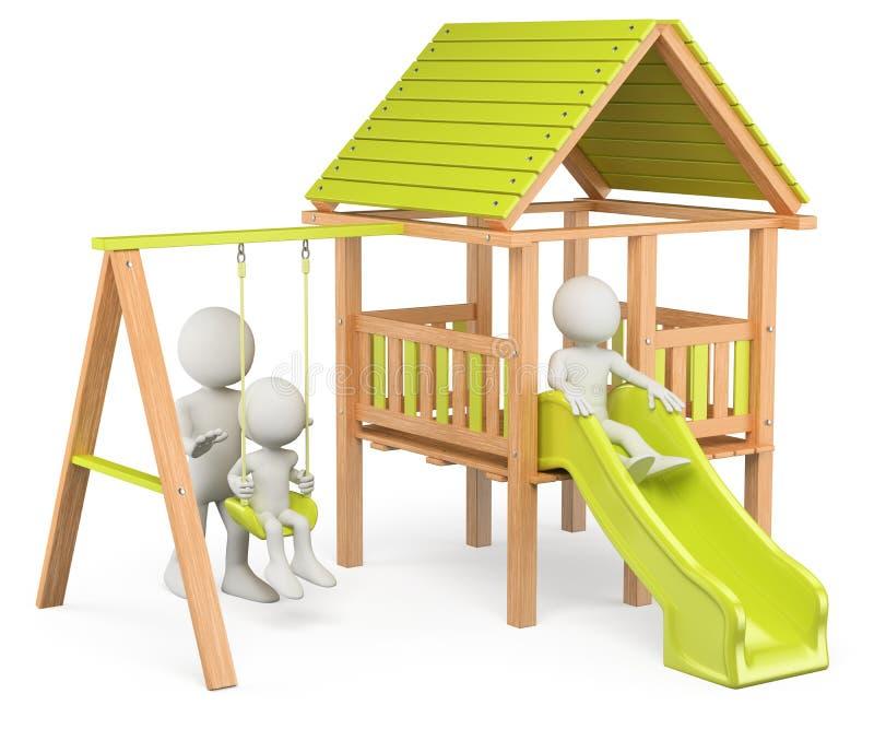 personnes de race blanche 3D. Enfants jouant sur un terrain de jeu illustration libre de droits
