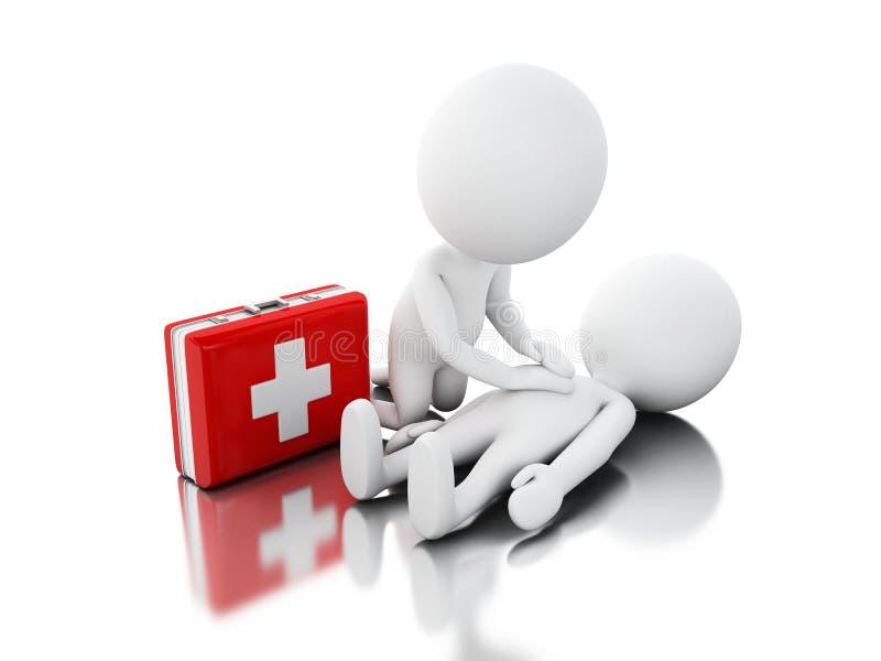 personnes de race blanche 3d fournissant l'appui de premiers secours illustration stock