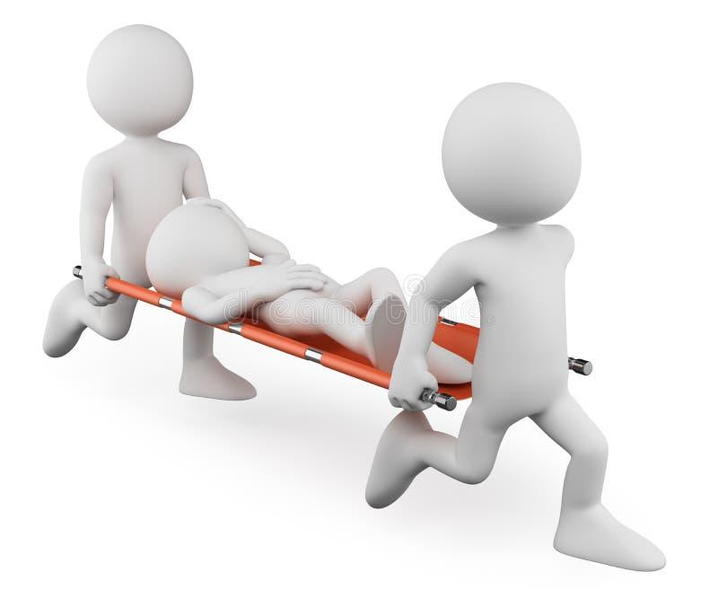 personnes de race blanche 3D. Médecins portant blessé sur une civière illustration de vecteur
