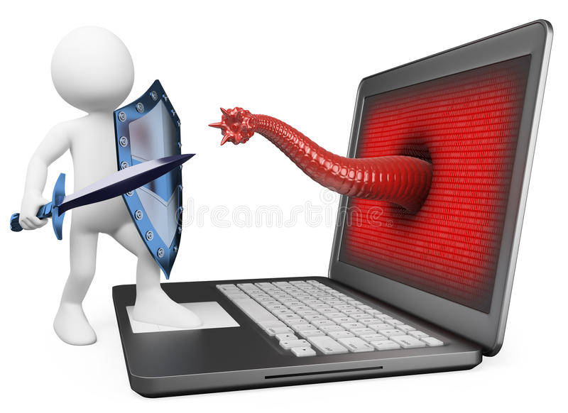 personnes de race blanche 3D. Protection d'antivirus contre le virus informatique illustration de vecteur