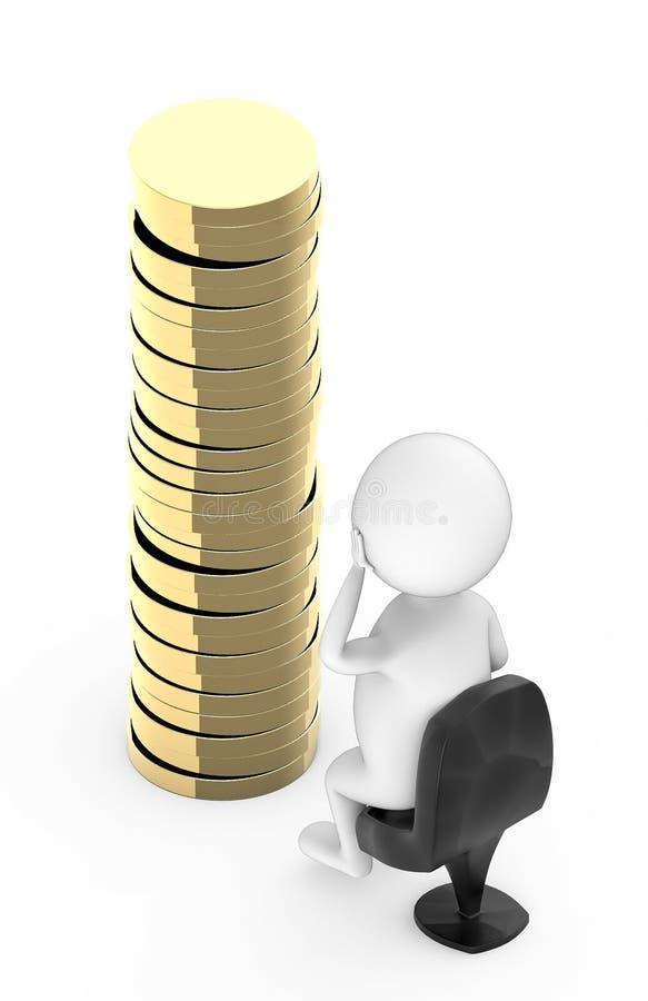 personnes de race blanche 3d s'asseyant dans une chaise et regardant une pile des pièces de monnaie d'or dans la terre illustration stock