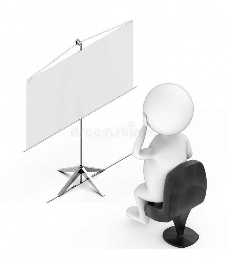 personnes de race blanche 3d s'asseyant dans une chaise et regardant un conseil vide de présentation illustration de vecteur