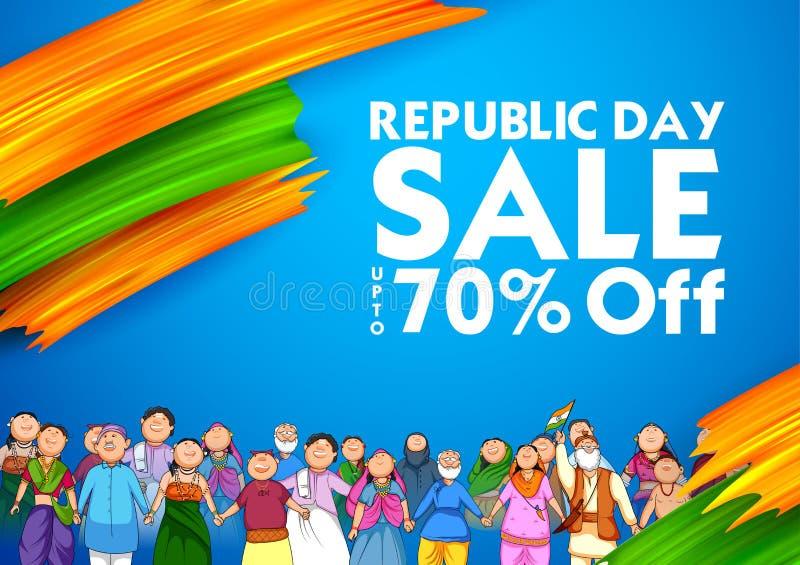Personnes de religion différente montrant l'unité dans la diversité le jour heureux de République du fond de promotion des ventes illustration de vecteur