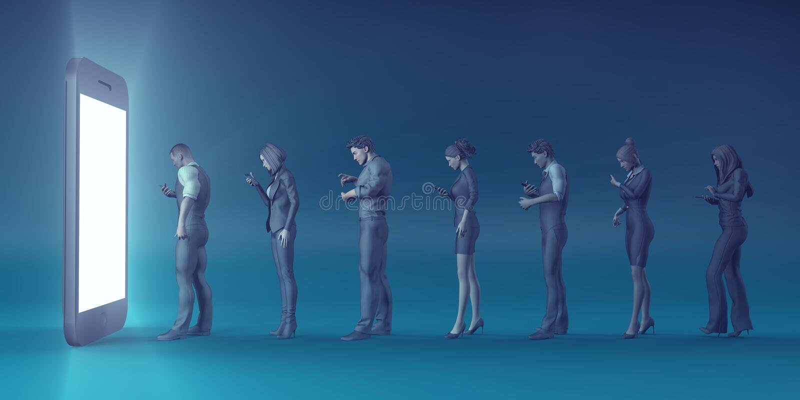 Personnes de rotation de Smartphone de technologie dans des zombis illustration libre de droits