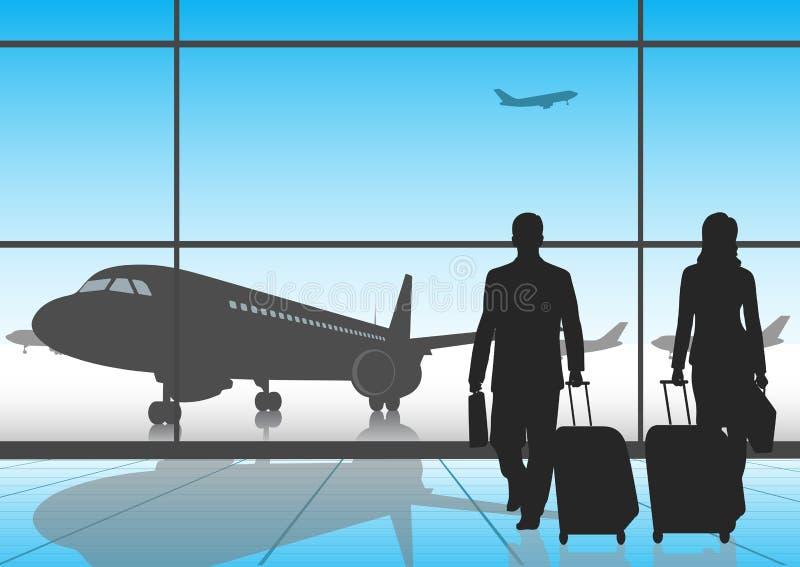 Personnes de silhouette dans un aéroport illustration de vecteur
