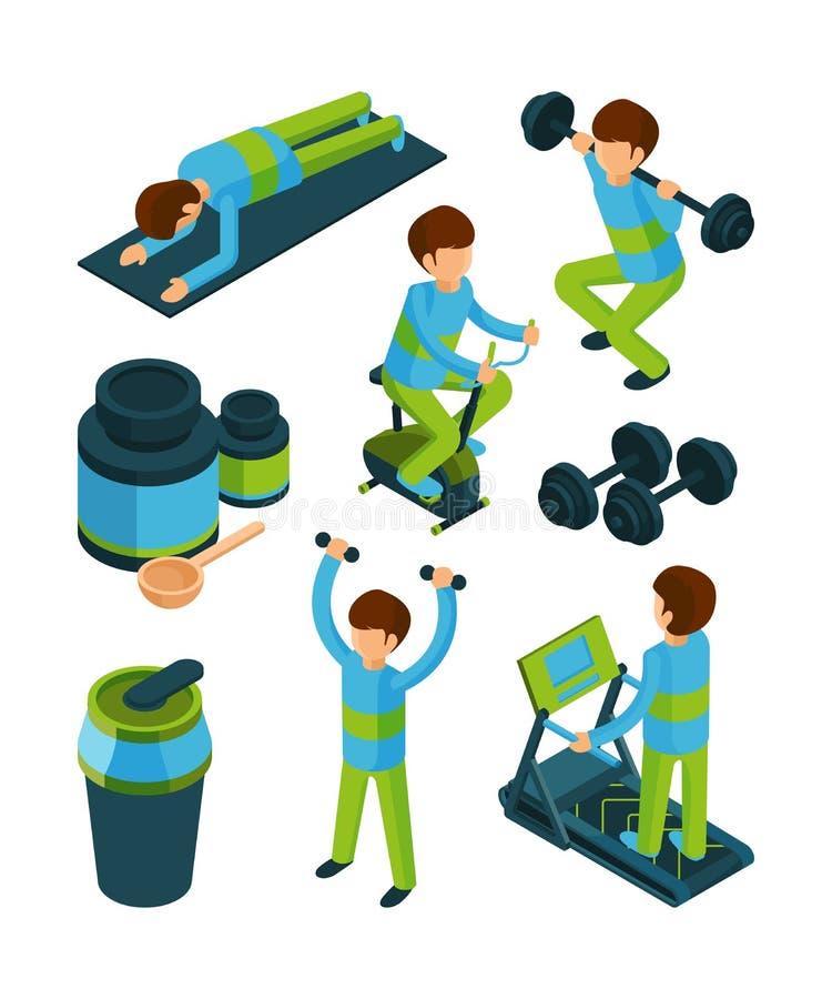 Personnes de sport isométriques Les exercices et l'équipement de forme physique pour la collection du vecteur 3d d'outils de gymn illustration de vecteur