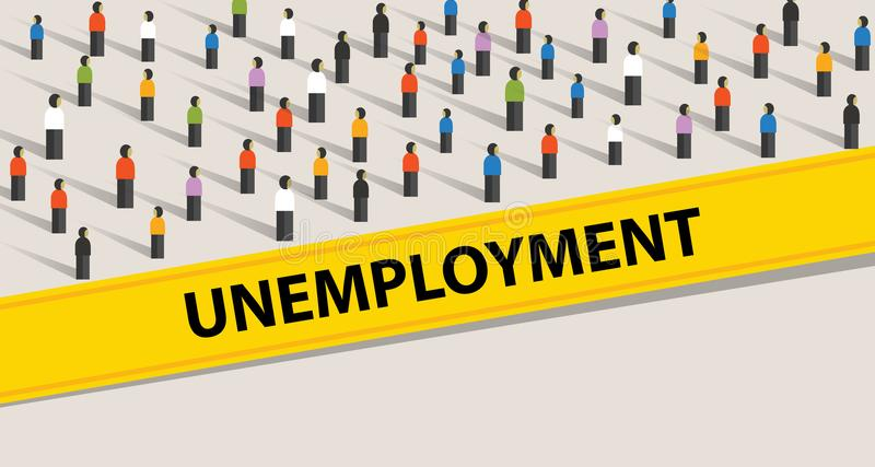 Personnes de taux de chômage protestant l'illustration de foule beaucoup de personnes recherchant un travail illustration libre de droits