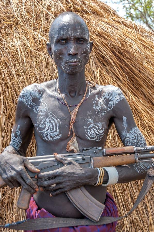 Personnes de vallée d'Omo - tribu de Mursi photos libres de droits