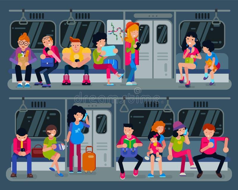 Personnes de vecteur de souterrain dans la métro et les passagers en souterrain utilisant l'ensemble urbain d'illustration de tra illustration libre de droits