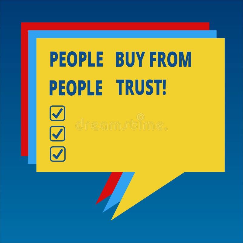 Personnes des textes d'écriture acheter des personnes qu'elles font confiance que le concept signifiant la confiance de construct illustration stock