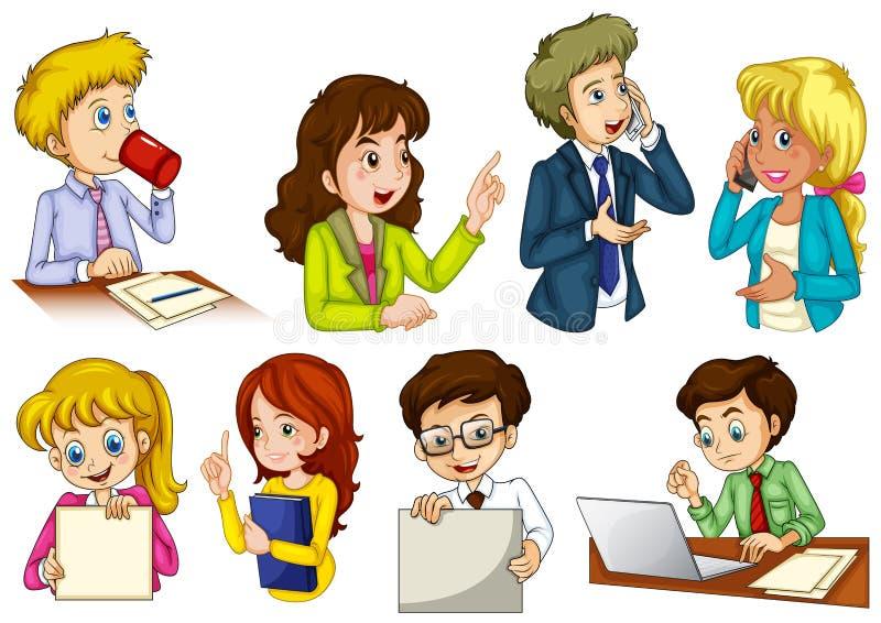 Personnes différentes travaillant dans un bureau illustration libre de droits