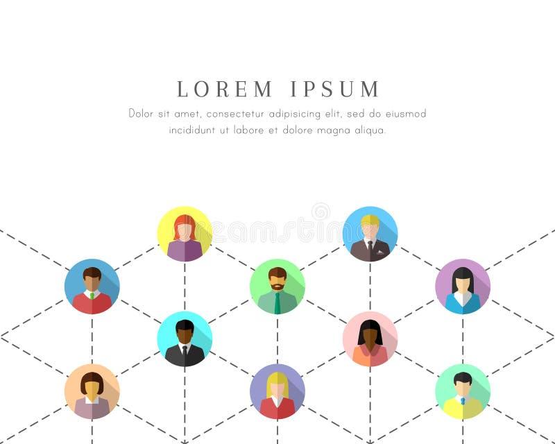 Personnes diverses de mise en réseau reliées par les lignes pointillées illustration libre de droits