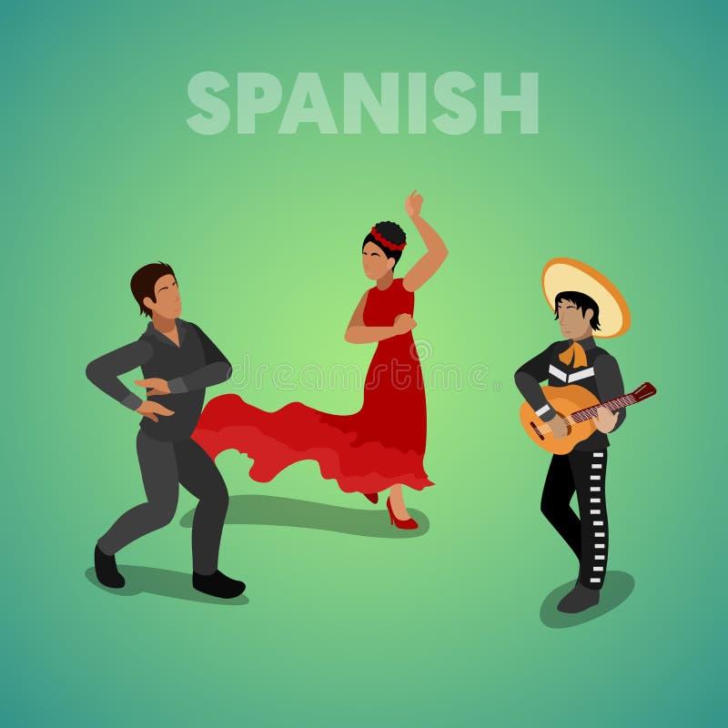 Personnes espagnoles isométriques de danse dans des vêtements traditionnels illustration libre de droits