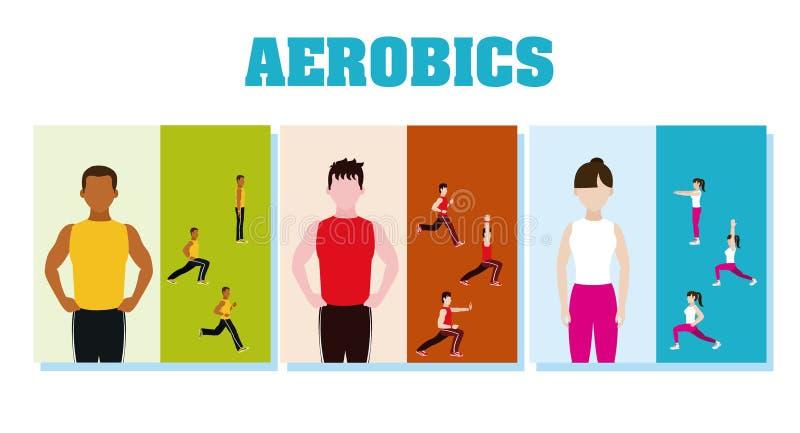 Personnes et aérobic de forme physique illustration stock