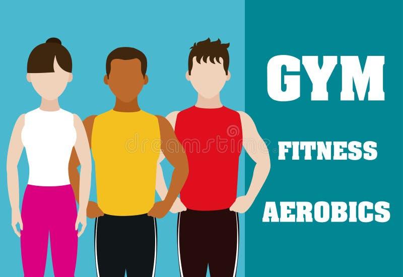 Personnes et aérobic de forme physique illustration libre de droits