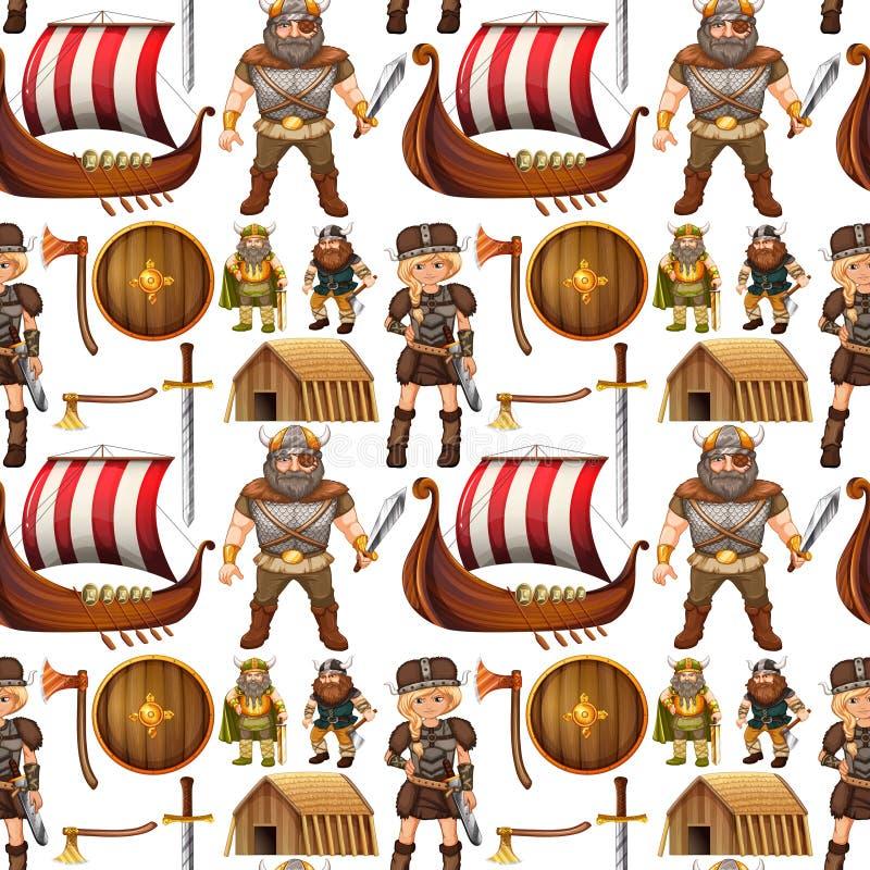 Personnes et bateau sans couture de Viking illustration stock