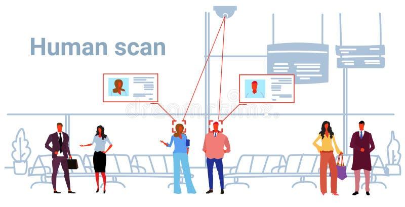 Personnes faciales de concept de reconnaissance d'identification de passagers tenant la caméra de sécurité intérieure de hall illustration libre de droits