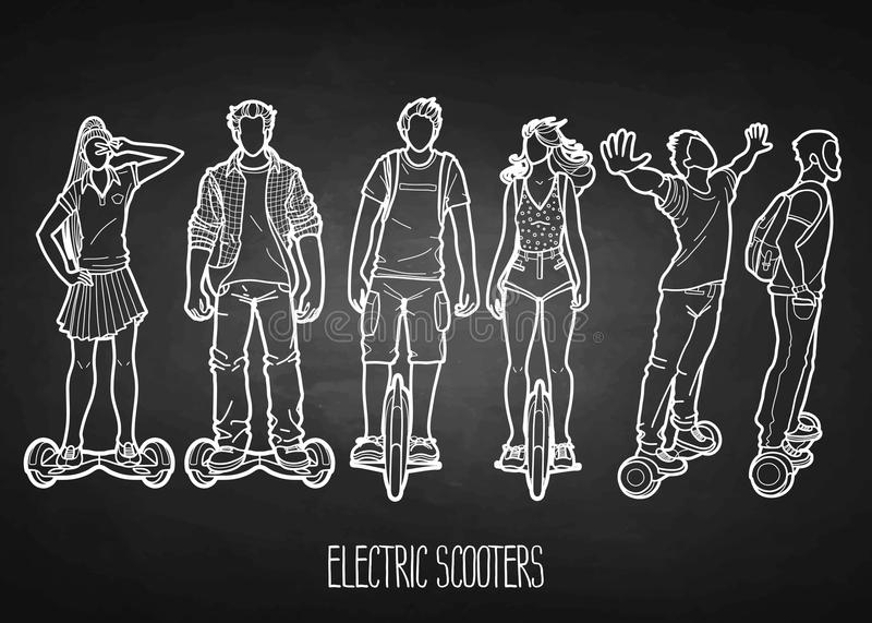 Personnes graphiques montant sur les scooters électriques illustration libre de droits