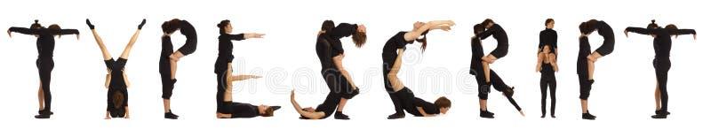 Personnes habillées par noir formant le mot de MANUSCRIT DACTYLOGRAPHIÉ photographie stock libre de droits
