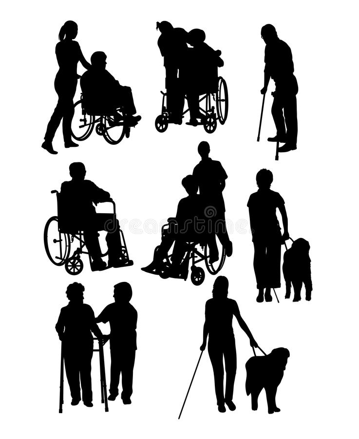 Personnes handicapées d'activité de silhouettes illustration stock