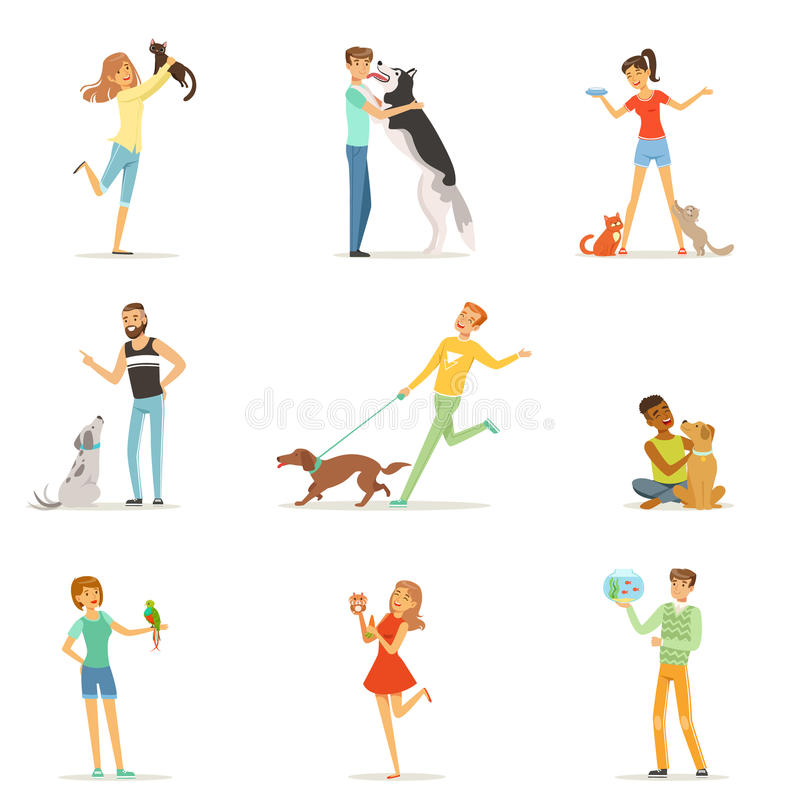 Personnes heureuses ayant l'amusement avec les animaux familiers, l'homme et les femmes s'exerçant et jouant avec leurs animaux f illustration de vecteur