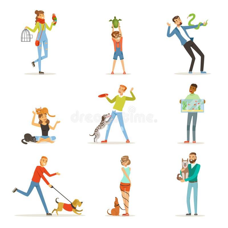 Personnes heureuses ayant l'amusement avec les animaux familiers, l'homme, les femmes et les enfants s'exerçant et jouant illustration de vecteur