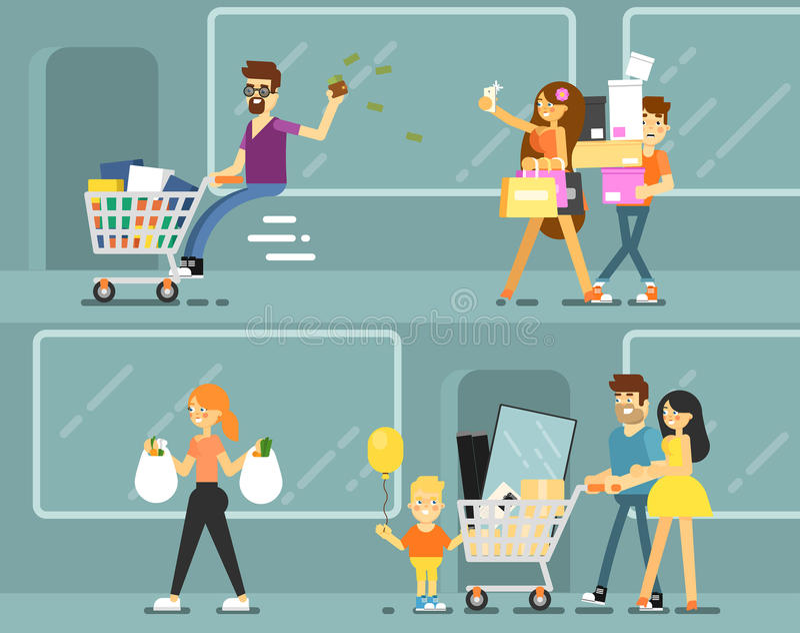 Personnes heureuses d'achats avec des sacs illustration stock