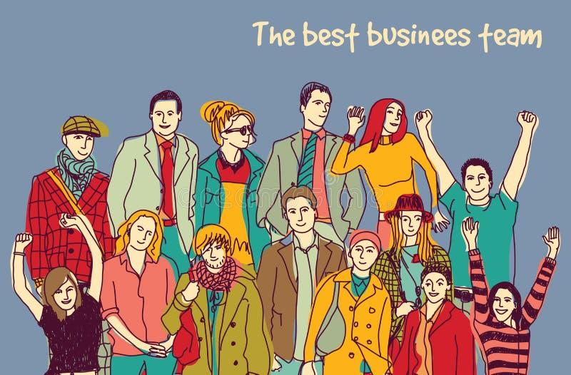 Personnes heureuses de couleur du meilleur d'affaires groupe d'équipe illustration libre de droits