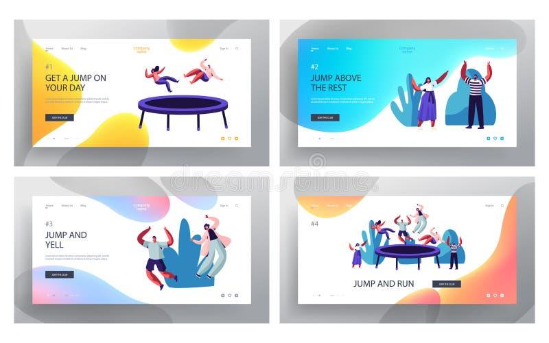 Personnes heureuses sautant sur l'ensemble de page d'atterrissage de site Web de trempoline, amis ayant le saut d'amusement et re illustration libre de droits