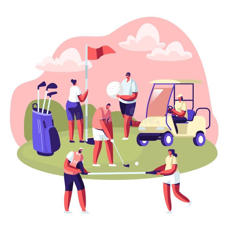Personnes heureuses sur le champ de golf, été détendant au Golfclub Sports d'été, activité extérieure d'amusement, mode de vie sa illustration stock