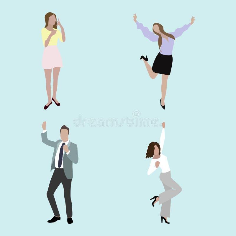 Personnes, homme de joie et femme heureux illustration de vecteur