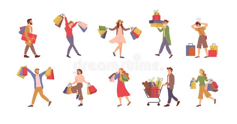 Personnes, homme et femme d'achats avec des sacs heureux illustration stock