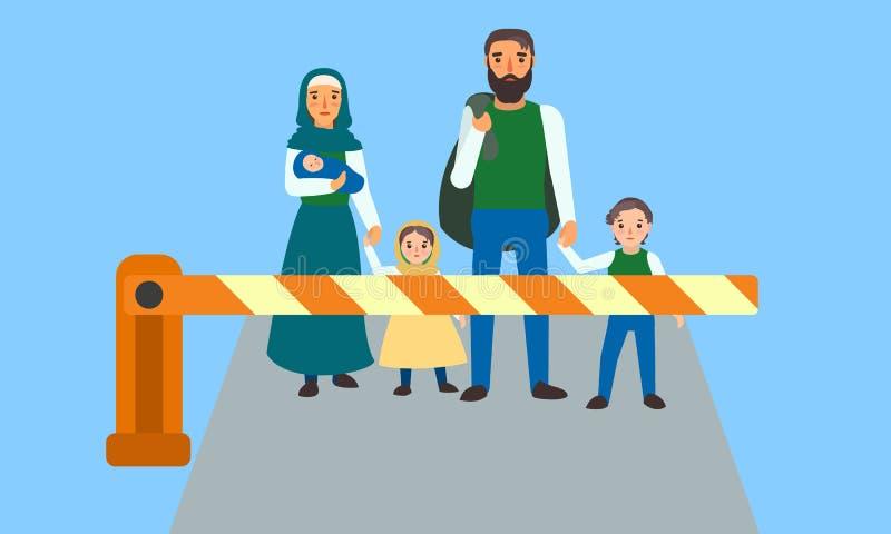 Personnes immigrées à la bannière de concept de frontière, style plat illustration libre de droits