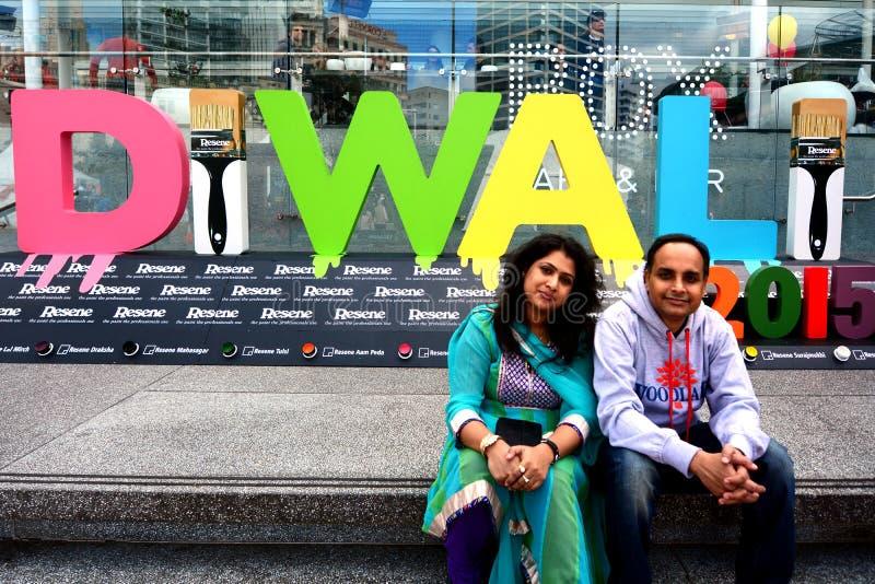 Personnes indiennes célébrant le festival de Diwali à Auckland, nouveau Zealan photos libres de droits