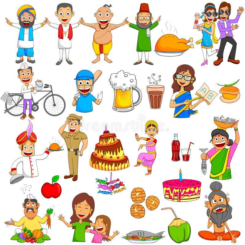 Personnes indiennes Emoji pour l'expression et le sentiment différents illustration stock
