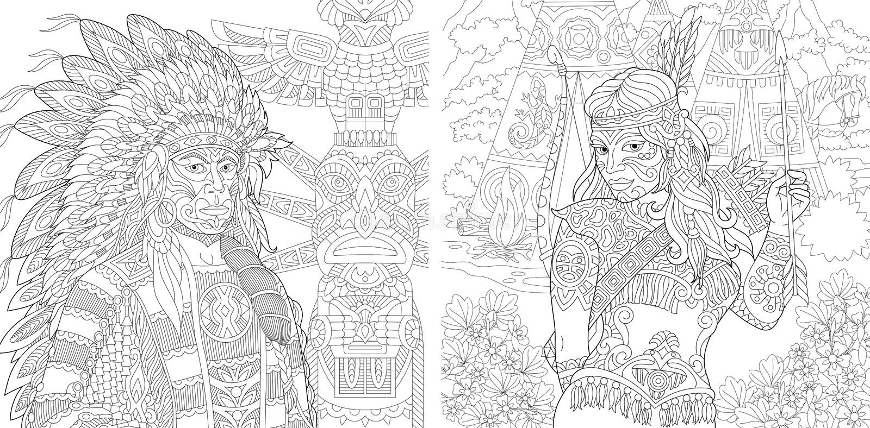 Personnes indiennes indigènes de Zentangle illustration de vecteur