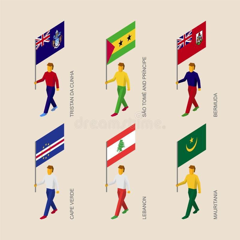 Personnes isométriques avec des drapeaux : La Mauritanie, Cap Vert, Liban, soit illustration libre de droits